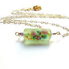 Czech Lampwork Glass Necklace in Gold Filled #HAF #HAFshop #handmade #artist