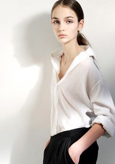 White shirt blank  stare