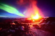 aurora borealis & volcano eruption in one shot