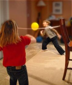 For when kids can't go outside due to rain: Volley ball with balloon and crepe paper streamer as the net