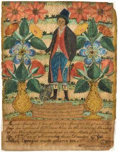 handpainted birth certificate - 1700's