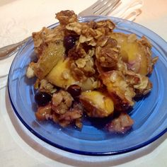 Blueberry & Peach Crisp. A great way to use the last of the local peaches and berries.