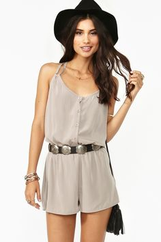 Button Up Romper in Taupe