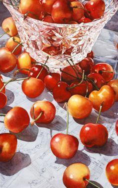 Cherries and Crystal by Soon Y. Warren watercolor artist, artists, bing cherri, watercolor paintings, art watercolour, soon y warren, crystal, cherries, artwork