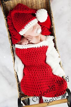 Newborn Stocking Photo prop set by ChaloobyBabyBoutique on Etsy