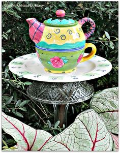 Teapot Garden Totem Stake  As Featured in by GardenWhimsiesByMary