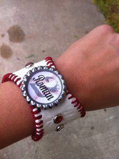 Baseball mom bracelet cuff team name