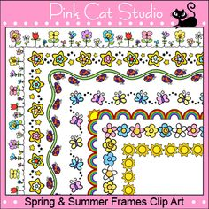 These 7 Spring and Summer theme rectangular borders are perfect for adding a touch of sunshine to your teaching resources. school clip, borders for paper, greengrow teach, art journal borders, frame, clipart, clip art, border clip, art pictures