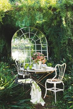 Dining outdoors with wrought iron chairs
