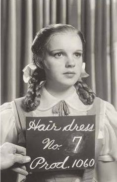 """Judy Garland in a test for an unused hairdo in """"The Wizard of Oz"""", 1939"""