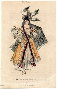 The 1830s saw fancy dress costumes becoming far more fanciful and unrestrained. Women who were modestly covered from head to toe in daily life reveled in creating revealing and controversial costumes, a trend which is still going strong today. This spectacular example is from La Mode magazine, 1831.
