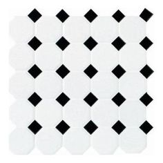 Bath 2 Floor: Daltile 12 in. x 12 in. White with Black Ceramic Octagon/Dot Mosaic Tile