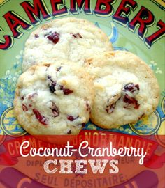 Coconut cranberry chew cookies - a great cookie for holiday baking or a Christmas cookie swap
