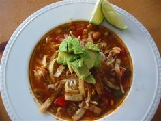 Crock Pot Tortilla Soup - Make w/o the Chicken Breasts for Vegetarian version