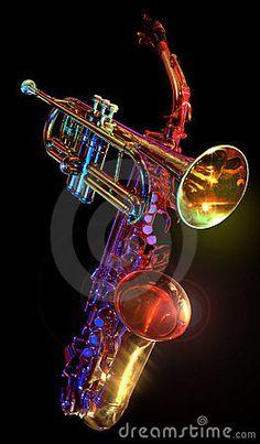 trumpet and saxaphone