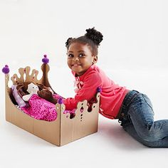 DIY::Repurposed cardboard boxes into a doll bed, stove, play castle and more!