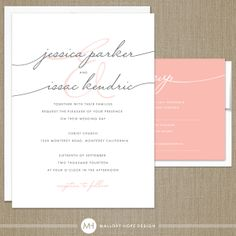 Handwriting Simplicity Modern Wedding Invitation and RSVP Set (DIY / PRINTABLE)