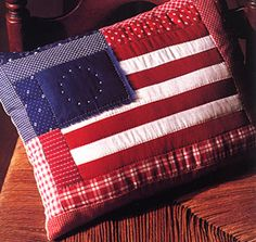 Flag Pillow Sewing Pattern ePattern - Free American flag craft patterns and patriotic craft ideas