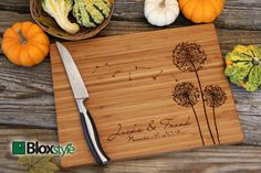 Personalized/ Engraved Cutting Board w/ Dandelion Design 11x16 or 9x12, Personalized Wedding Gift,Bamboo,Custom Cutting Board, Wedding Gifts on Etsy, $35.00
