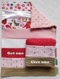 Baby Girl Sensory Security Blanket Lovey - beautiful zoo - Get One, Give One to babies in Kenya, $30.00