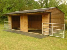 A great looking field shelter. I like that it has gates so you can keep them in if need be. I would even like this as a small rabbit barn- cages in one side and a large run in the other for exercise & play time.