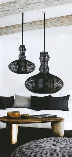 = pendants, table and knitted ottoman