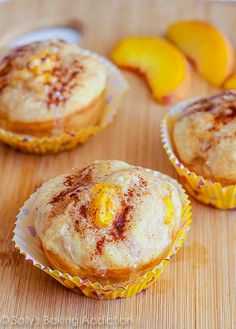 Peach Pie Muffins with Brown Butter Glaze - ultra moist, soft, peaches in every bite!