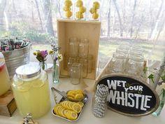 Handmade Chalkboard Drink Station. Lemonade station, great pre-ceremony treat for a hot wedding day!