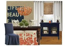 ahhh navy and orange. This is our combo for the dining/living room.