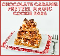 Chocolate Caramel Pretzel Magic #Cookie Bars at lovefromtheoven.com
