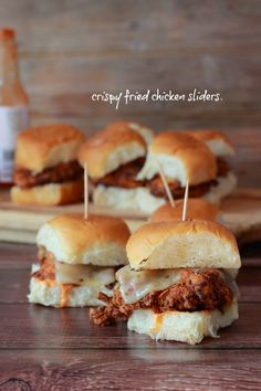 Crispy Fried Chicken Sliders with Buffalo Sauce | Foodness Gracious