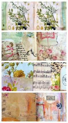 Handmade Stitched papers to use in journaling