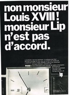 Publicité Advertising 1968 LA Montre LIP