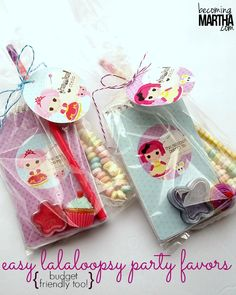 Tips and tricks to create budget friendly party favors, no matter what your party theme!  These Lalaloopsy party favors were created for under $1 per guest!