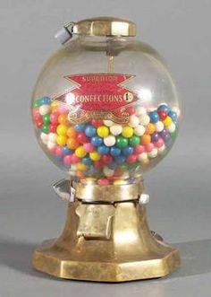 Superior Confections, Gum Ball, 1 Cent, 14 inchA Superior Confections glass globe gumball vending machine