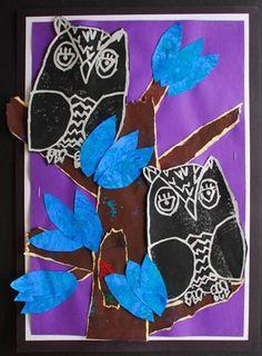 art museum, collag owl, art project, art lesson, owl print, amaz art, art paint, collages, blue owl