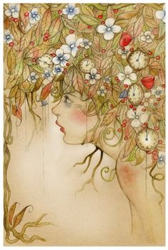 robert dunn, girl hair, art illustrations, clock, soft colors, wasting time, robertdunn, flower fairies, girl rooms