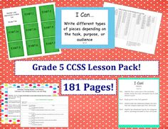This lesson pack contains everything you  will need to teach,  track,    and display the Common Core State  Standards for Grade Five!  With over 180 pages, it includes everything you need to get started with the common core!