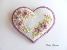 Beaded Felt  Heart - flowers 2