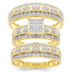 diamond wedding bands, yellow gold, band set, diamonds, 085 ctw, gold diamond, set 085, white gold, 10k yellow