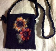 Felt fall color messenger bag iPad Mimi , cross body purse, two large needle felted flower upcycled by mcleodhandcraftgifts,