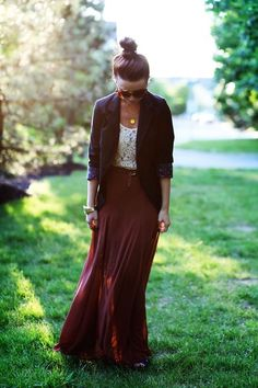 wine maxi skirt + lace shirt + black blazer