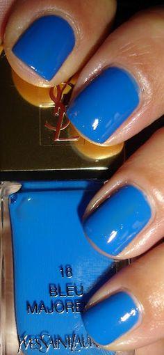 "Yves Saint Laurent - ""Bleu Majorelle""     |   Visit my nail Lacquers and Nail Art pinterest over 11,000 pins @opulentnails #nailpolish #OPI #Butter #Narns #Dior #Evie #Essie #MichaelKors  #TomFord #YSL"