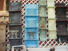 hous decor, old shutters, idea, burlap christmas, shutter projects, shutters shelves, wall shelves, shutter shelves, diy