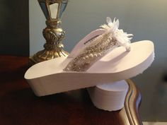 Bridal Wedge Bling Flip Flop Wedding Party Prom by LaBoutiqueBride, $55.00