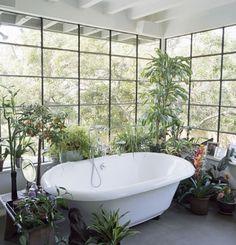 #bath #bathroom #bathtub #plants #interiordesign