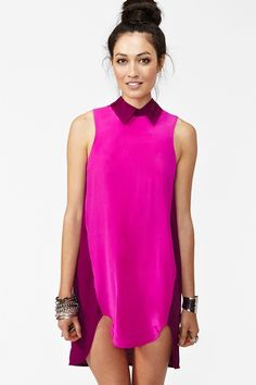 silk colorblock dress .