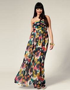Smudge Print Bandeau Maxi Dress
