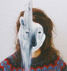polar bears, animal faces, charlott caron, art, mixed media, mask, animal totems, paint, portrait