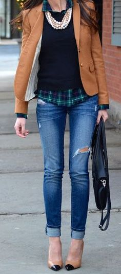 J.Crew Schoolboy blazer, J.Crew flannel shirt, sweater, pearls, denim, heels